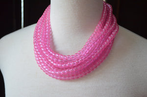 Pink Statement Necklace, Chunky Necklace, Multi Strand Necklace, Bead Necklace, Glass Necklace, Gift For Woman - Michelle