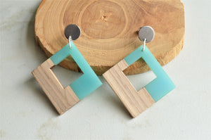 Blue Statement Earrings, Wood Earrings, Lucite Earrings, Big Earrings, Gift For Women