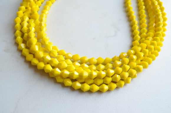 Yellow Statement Necklace, Glass Bead Necklace, Multi Strand, Chunky Necklace, Gift For Woman - Sloane