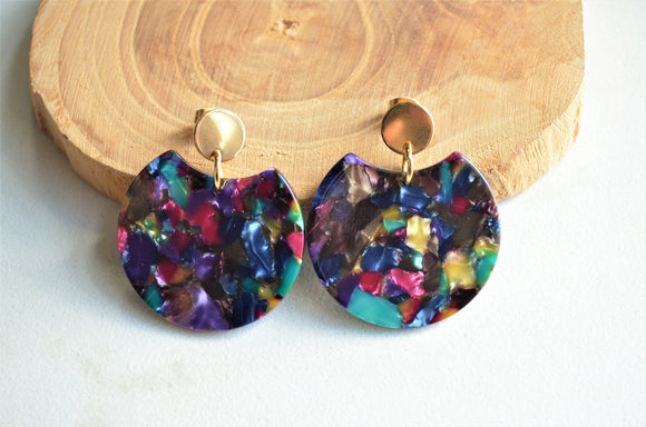 Multi Color Statement Earrings, Lucite Earrings, Colorful Earrings, Big Earrings, Acrylic Earrings, Gift For Her - Hanna