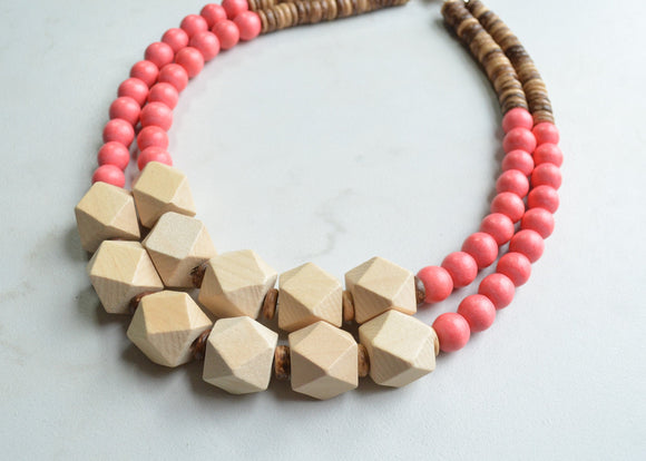 Coral Statement Necklace, Wood Bead Necklace, Wooden Necklace, Chunky Necklace, Gift For Her - Riley