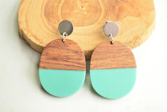 Turquoise Green Statement Earrings, Lucite Wood Earrings, Big Acrylic Earrings, Large Earrings, Gift For Women - Bennett
