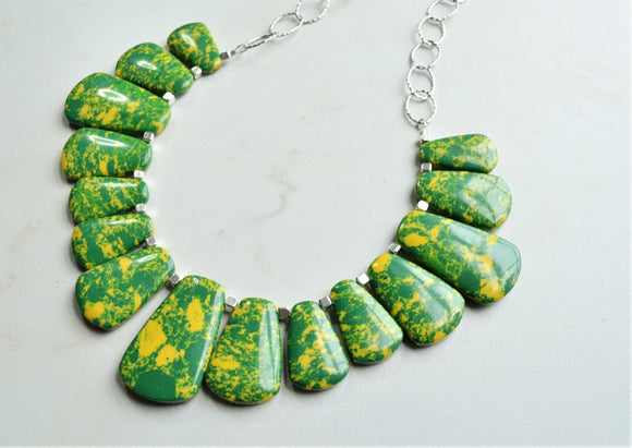 Green Statement Necklace, Yellow Bead Necklace, Chunky Necklace, Chain Necklace, Gift For Woman - Reina