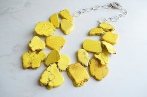 Yellow Statement Necklace, Bib Necklace, Bead Necklace, Howlite Necklace, Gift For Her - Times Square