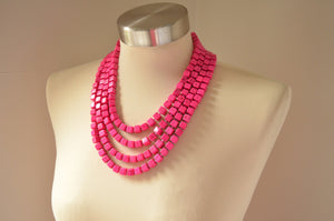 Hot Pink Statement Necklace, Chunky Bead Necklace, Multi Strand, Long Necklace, Gift For Her - Cubist
