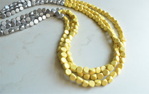 Yellow Silver Statement Necklace, Long Bead Necklace, Wood Necklace, Multi Strand - Britanni