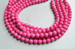 Pink Statement Necklace Beaded Acrylic Necklace Chunky Multi Strand Necklace Bridesmaid Gifts - Angelina