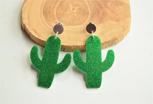 Cactus Statement Earrings, Mint Green Earrings, Acrylic Earrings, Glitter Earrings, Big Earrings, Gift For Her