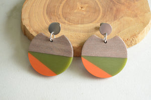 Orange Green Statement Earrings, Lucite Wood Earrings, Acrylic Earrings, Big Earrings, Gift For Women - Hanna