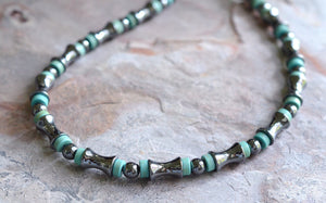 Turquoise Necklace, Mens Necklace, Hematite Necklace, Bead Necklace, Gift For Him - Landon
