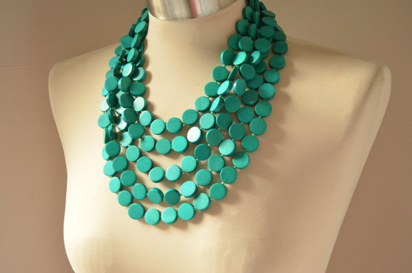 Green Statement Necklace, Wood Bead Necklace, Chunky Necklace, Multi Strand, Gift For Woman - Charlotte