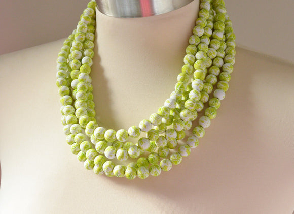Lime Statement Necklace, Matte Bead Necklace, Chunky Necklace, Multi Strand Necklace, Gift For Her