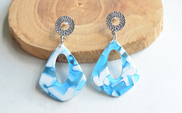 Blue Statement Earrings, Acrylic Earrings, Big Earrings, Lucite Earrings, Gift For Women - Veronique