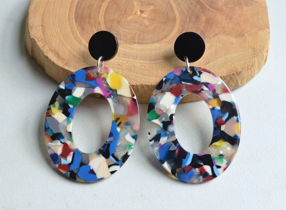 Multi Color Statement Earrings, Big Lucite Earrings, Terrazzo earrings, Acrylic Earrings, Large earrings, Gift For Her - Sylvia