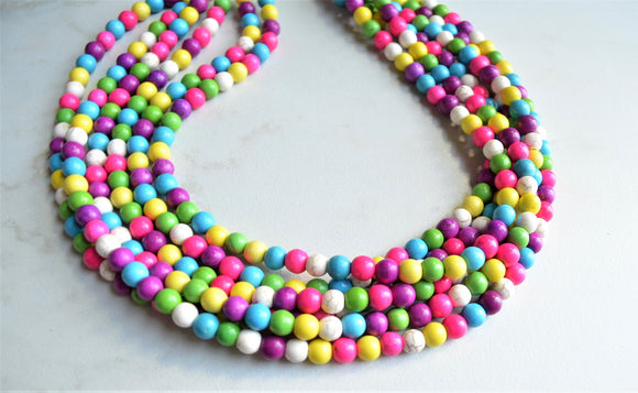 Multi Color Necklace, Statement Necklace, Colorful Necklace, Bead Necklace, Chunky Necklace, Gift For Woman - Michelle