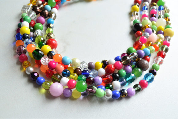 Multi Color Necklace, Statement Necklace, Bead Necklace, Colorful Necklace, Stone Necklace, Glass Necklace - Fiesta 2
