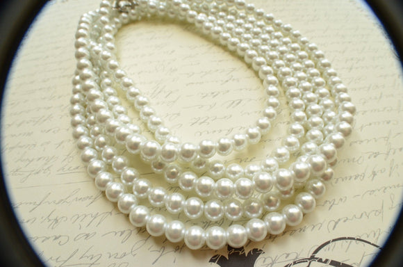Long White Pearl Necklace Chunky Statement Necklace Bridesmaid Gifts - Gatsby