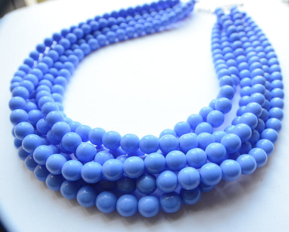 Periwinkle Blue Statement Necklace Glass Beaded Necklace Chunky Multi Strand Necklace - Michelle