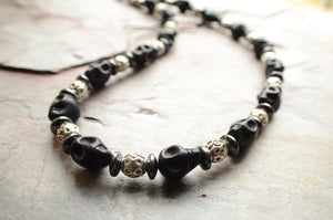 Mens Skull Necklace Silver Beaded Necklace Black Stone Necklace Mens Gifts - Luca