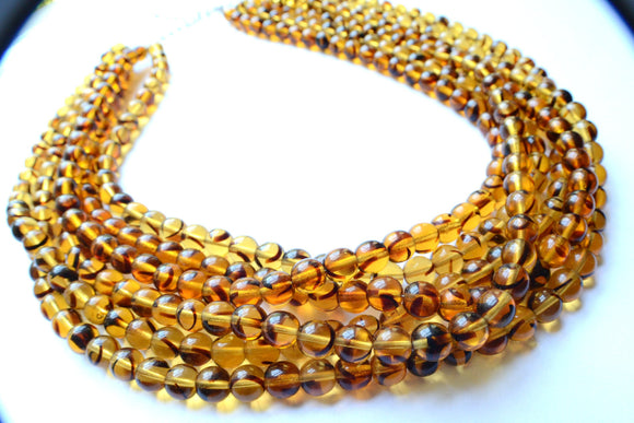 Tortoise Shell Statement Necklace Beaded Glass Necklace Multi Strand Necklace Gifts For Woman - Michelle