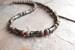 Jasper Mens Necklace Beaded Hematite Necklace Man Stone Necklace Gifts For Men - Ryker