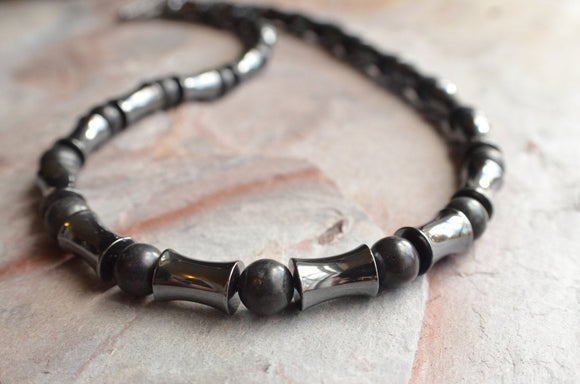 Hematite Mens Necklace, Bead Necklace, Black Stone Necklace, Mens Jewelry, Mens Gift - Jayce