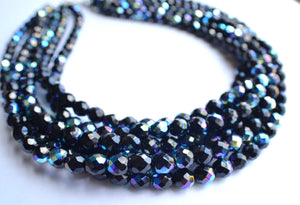 Black Statement Necklace Crystal Beaded Necklace Chunky Glass Necklace Gifts For Women - Rebecca
