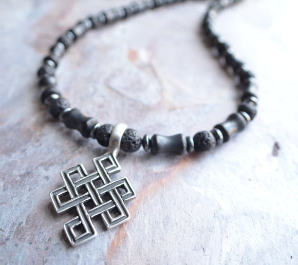 Mens Pendant Necklace Hematite Beaded Necklace Celtic Cross Necklace Gifts For Him - Caden