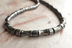 Mens Beaded Necklace Hematite Necklace Gifts for Men - Aiden