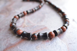 Black Mens Necklace Beaded Jasper Necklace Gifts For Men - Phoenix
