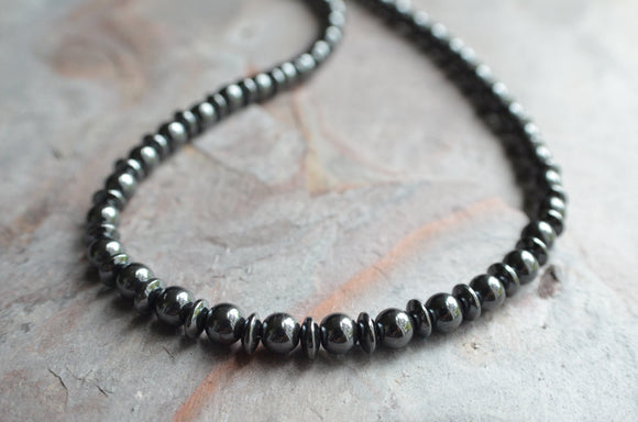 Hematite Necklace, Mens Necklace, Bead Necklace, Stone Necklace, Gray Necklace, Gift For Him - Jayden