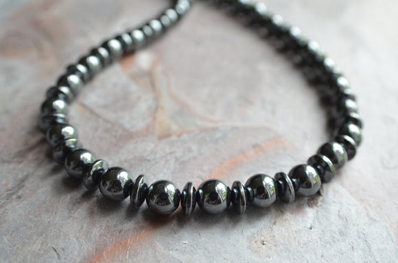 Mens Beaded Necklace Hematite Necklace Gifts For Men - Jayden