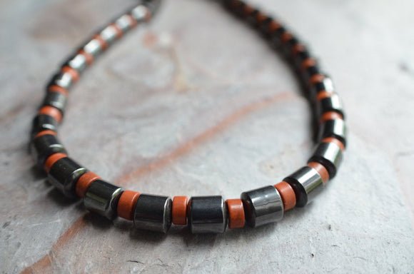 Mens Necklace, Bead Necklace, Stone Necklace, Hematite Necklace, Mens Jewelry, Man Necklace, Gift For Guy - Samson