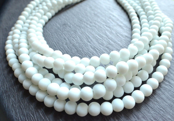 White Statement Necklace, Beaded Necklace, Rubber Chunky Necklace, Matte Necklace, Gift For Woman - Michelle