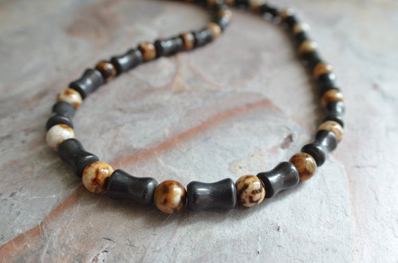Black Brown Beaded Necklace Mens Surfer Necklace Gifts For Him - Phoenix