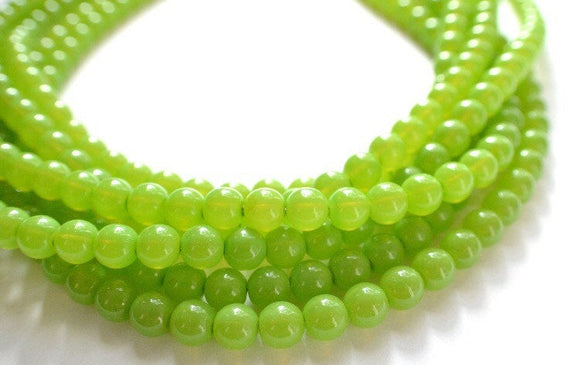 Lime Statement Necklace, Glass Bead Necklace, Chunky Necklace, Multi Strand, Gift For Her, Bridesmaid Gift - Michelle