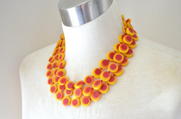 Yellow Statement Necklace, Resin Necklace, Red Bead Necklace, Multi Strand Necklace, Chunky Necklace, Gift For Her - MoMa