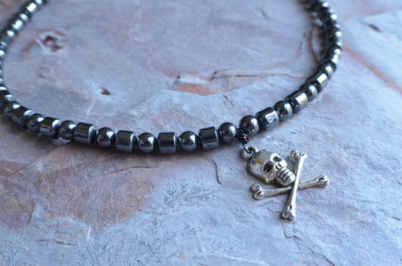 Mens Skull Necklace Hematite Pendant Necklace Gray Mens Jewelry Gifts For Men - Jolly Roger
