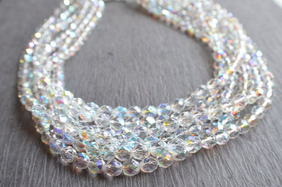 Crystal Statement Necklace Clear AB Necklace Bead Necklace Multi Strand Chunky Necklace Bridesmaid Gift - Rebecca
