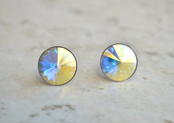 Clear AB Stud Earrings, Swarovski Studs, Crystal Earrings, Post Earrings, Bridesmaid Gift, Gift For Her - Danica
