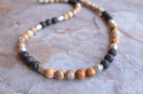 Mens Beaded Surfer Necklace Jasper Lava Rock Necklace Gifts For Men - Colin