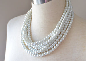 Pearl Statement Necklace, White Necklace, Bead Necklace, Chunky Necklace, Multi Strand, Gift For Woman - Michelle