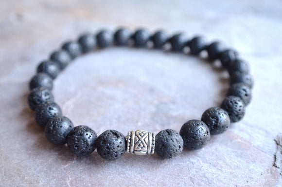 Mens Beaded Bracelet, Lava Rock Bracelet, Stretch Bracelet, Man Bracelet, Womens Bracelet, Gift For Him, Gift For Her - Wagner