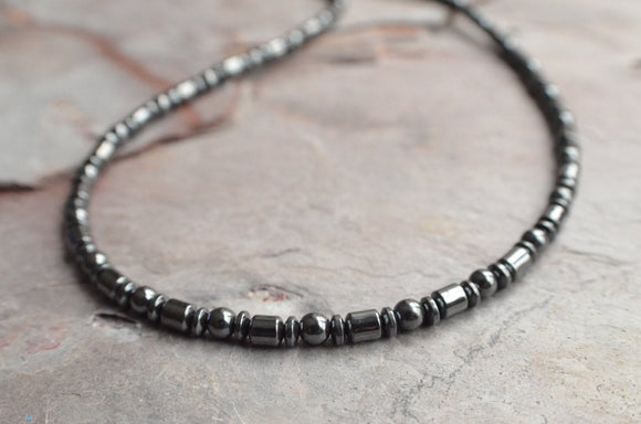 Hematite Mens Necklace, Bead Necklace, Man Necklace, Gift For Men, Stone Necklace, Boyfriend Gift, Mens Accessory - Tyson