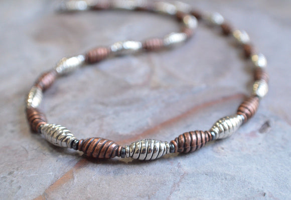Copper Mens Necklace, Silver Bead Necklace, Mens Jewelry, Man Necklace, Gifts For Men - Saul