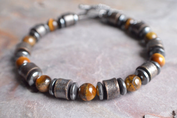 Copper Mens Bracelet Tigers Eye Beaded Bracelet Stone Necklace Gifts For Him - Julian
