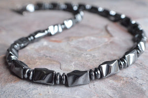 Mens Beaded Necklace, Man Necklace, Hematite Necklace, Mens Jewelry, Gift For Men - Dylan