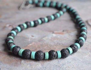 Lava Rock Necklace,  Mens Necklace, Beaded Necklace, Surfer Necklace, Stone Necklace, Gift For Him - Mac