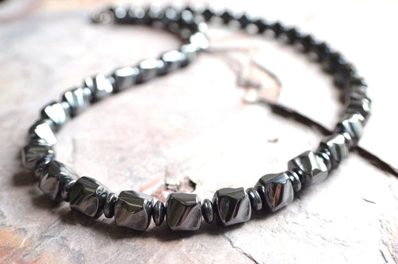 Mens Beaded Necklace Hematite Necklace Gifts For Men - Walsh