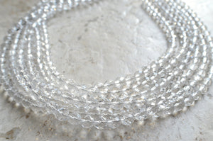 Crystal Statement Necklace Clear Beaded Necklace Chunky Multi Strand Necklace Bridesmaid Gifts - Rebecca